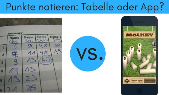 Mölkky Punkte notieren Tabelle oder App